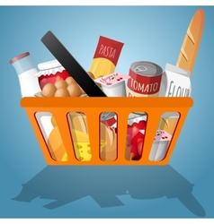 Food in shopping basket vector image vector image