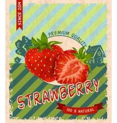 Strawberry retro poster vector image vector image