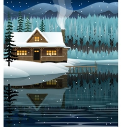 Winter landscape with mountain lake vector