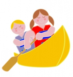 youth in a canoe vector image