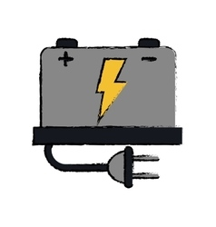 drawing car battery high voltage mechanic plug vector image