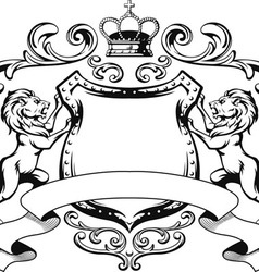Heraldic Lion Shield Crest Silhouette vector image