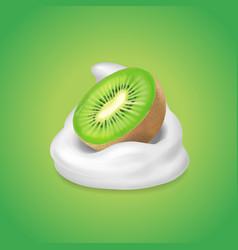 kiwi fruit and yogurt fruit and yogurt realistic vector image