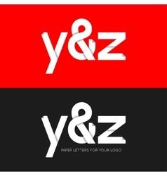 letter Y and Z logo paper set background vector image vector image