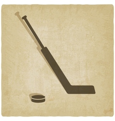 sport hockey logo old background vector image vector image