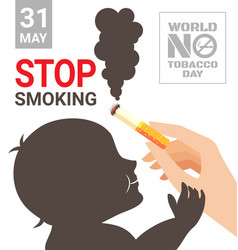world no tobacco day poster for stop smoking vector image vector image