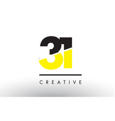 31 black and yellow number logo design vector