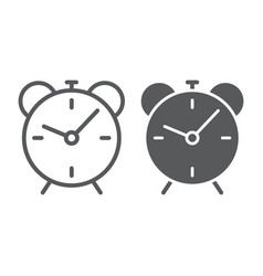 alarm clock line and glyph icon time and hour vector image