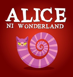 Alice in Wonderland title Cheshire Cat Fantastic vector