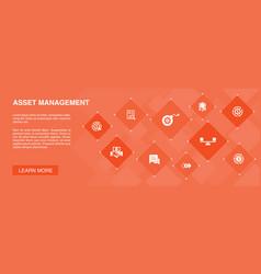 Asset management banner 10 icons conceptaudit vector