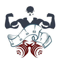 Athlete with dumbbells and meter vector