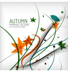 Autumn swirl lines and leaves on white vector image