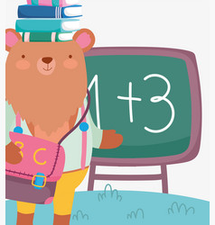 back to school cute bear with books on head vector image