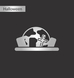 black and white style icon halloween cemetery vector image