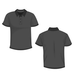 black dark gray polo t-shirt template in front vector image