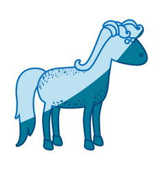 blue silhouette of cartoon female horse with mane vector image