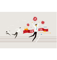 Businessman crossing finish line he is won vector