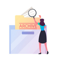 businesswoman search documents in archive storage vector image