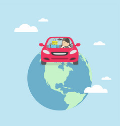 Businesswoman travel around the world by car vector