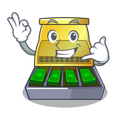 Call me cartoon cash register with a money drawer vector