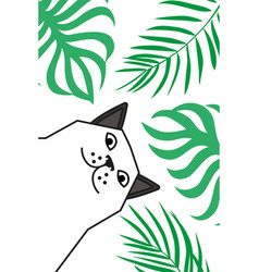 Cat tells you to wake up on beach under palms vector