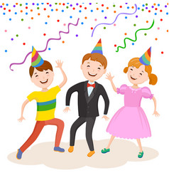 celebrating the birthday cute cartoon boy vector image