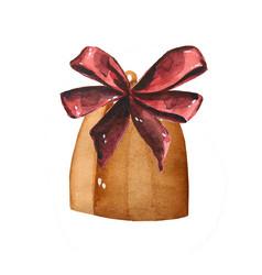 christmas bells watercolor han vector image
