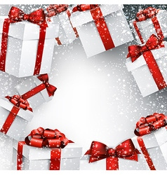 Christmas snowy background with gift boxes vector image