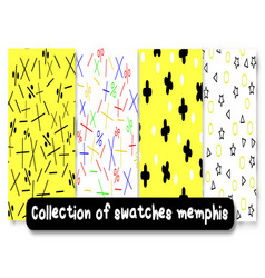 collection of swatches memphis patternsbackground vector image