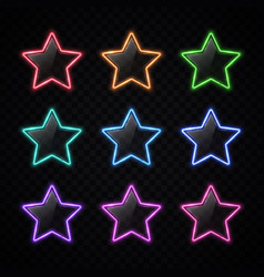 colorful neon star badges set glowing colored vector image