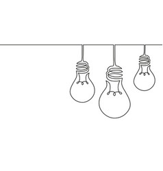 continuous one line drawing hanging electric vector image