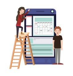 Couple with smartphone and stepladder vector