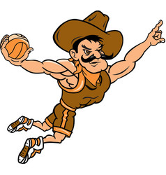 Cowboy sports basketball logo mascot vector