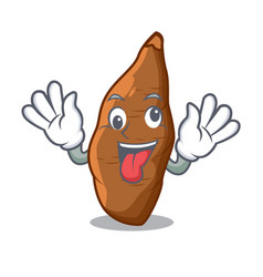 Crazy fresh cassava isolated on the mascot vector
