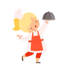 cute girl holding cloche cute little chef vector image