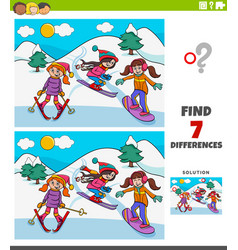 differences educational game with skiing girls vector image
