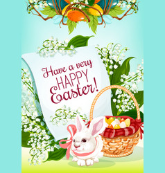easter egg hunt rabbit greeting card design vector image