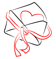 envelope with heart on white background vector image