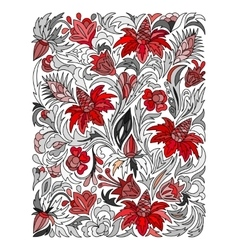 Ethnic colored floral zentangle doodle background vector image