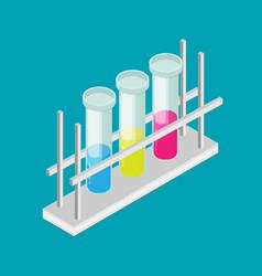 flat multicolor test tubes liquid in rack vector image