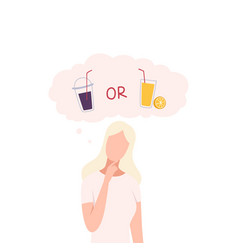 Girl trying to make decision soda drink or fresh vector