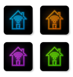 glowing neon smart home with wi-fi icon isolated vector image