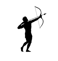 god apollon archer silhouette ancient mythology vector image
