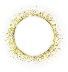 Gold round frame and glitter glowing particles vector