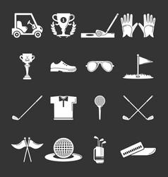 golf icons set grey vector image
