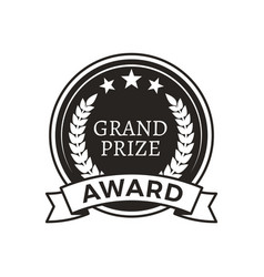 grand prize award monochrome round promo logotype vector image