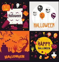 halloween banner set flat style vector image