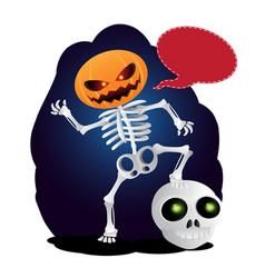 happy cartoon skeleton with pumpkin instead of vector image