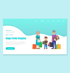 Happy family shopping pastime people website vector