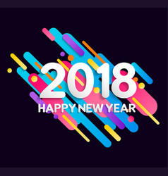 Happy new year 2018 color gradient decoration card vector